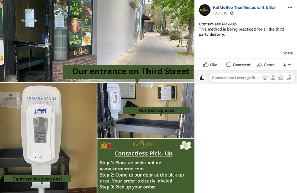 A Facebook post from KetMoRee Thai Restaurant & Bar advertising their contactless pick-up.