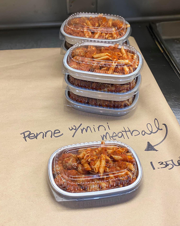 Penne with mini meatball packaged meals to go.